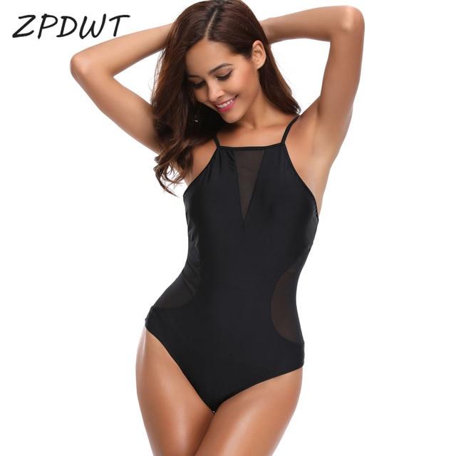 3ef4b1221d18c ZPDWT Sexy One Piece Swimsuit Black Mesh Monokini High Neck Bathing Suit  Swimwear Women Trikini Bodysuit Summer Beachwear Bather