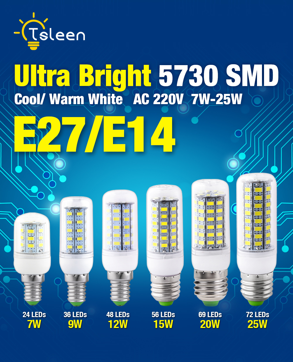 High Quality 220V 7W 9W 12W 15W <font><b>20W</b></font> 25W 5730 SMD <font><b>LED</b></font> Corn Bulb <font><b>Lamp</b></font> Light Warm White Cool White Bulb E27 E14 Base For Home Decor image