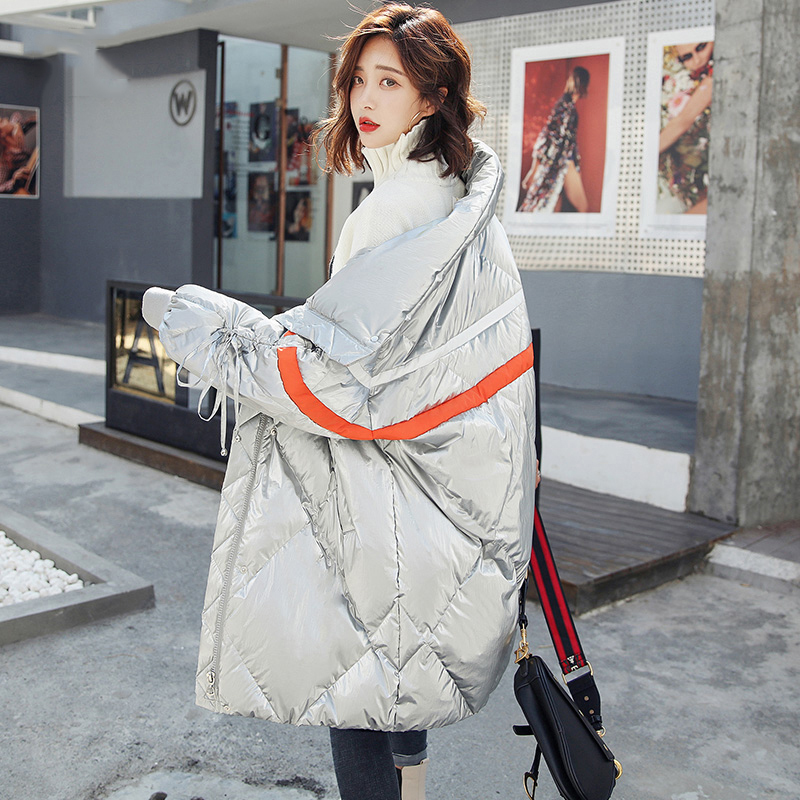 Down Coats Enthusiastic Silver Winter White Duck Down Jacket Women Hit Color Stand Collar Warm Long Outwear Women Parka 2019 New Series Glossy Down Coat Jackets & Coats