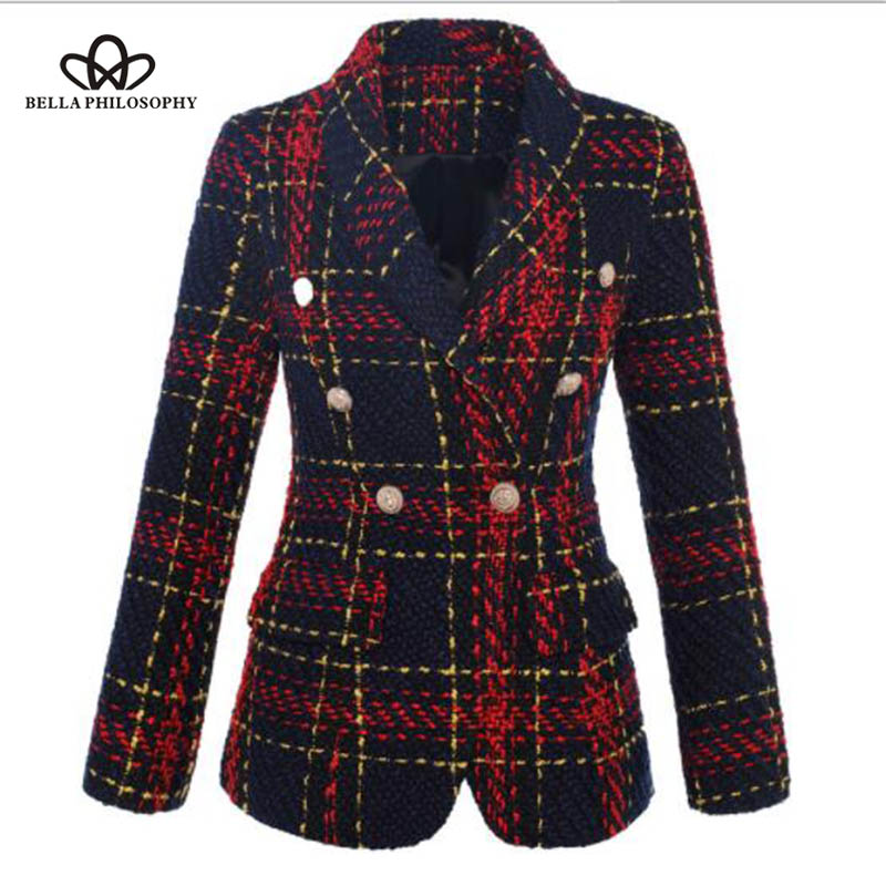 Bella Philosophy Autumn Double Breasted Long Sleeves Short Coat Plaid Tweed Outwear Office Lady Coat
