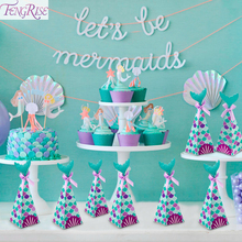 FENGRISE Little Mermaid Tail Banner Party Supplies Birthday Decoration Theme Decor For Kids Favors