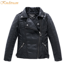 2016 New Boys Faux Leather Jackets European and American Style Children Fashion Coats Girls Outerwear Spring & Autumn, HC351