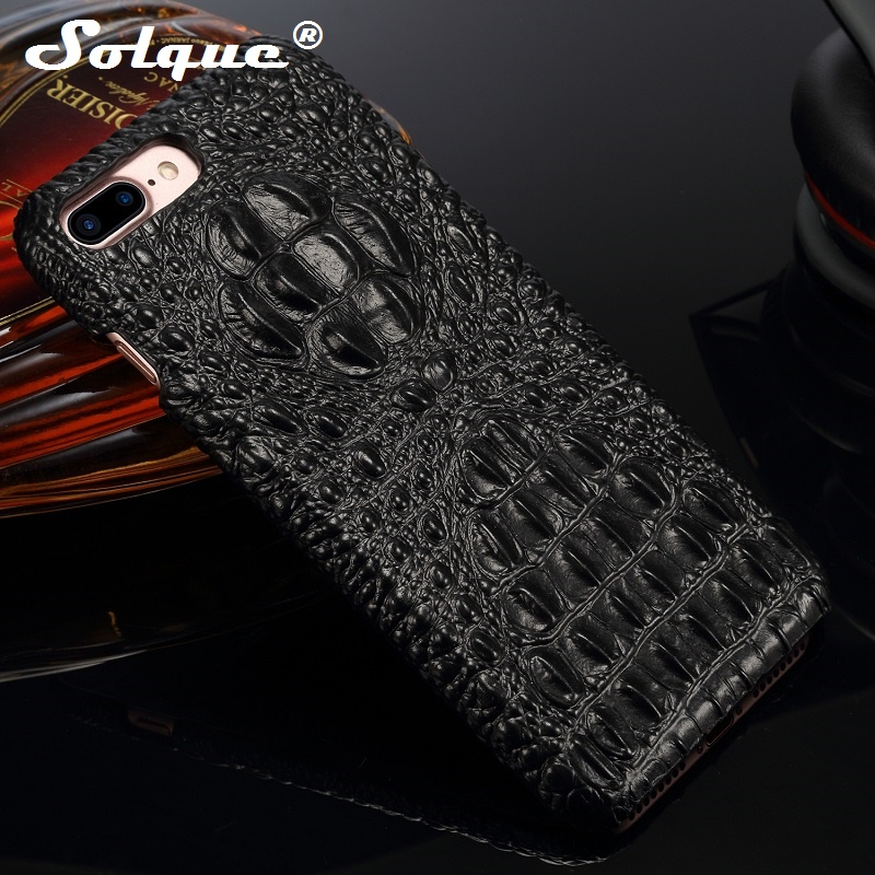 Solque Genuine Leather Case For IPhone 7 Cell Phone For IPhone 7 Plus Fundas Luxury 3D