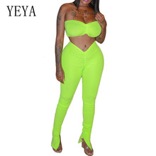 YEYA Summer Two Pieces Sets Women Off Shoulder Sleeveless High Waist Slim Sexy Crop Top and Pants Ladies Bodycon Jumpsuits