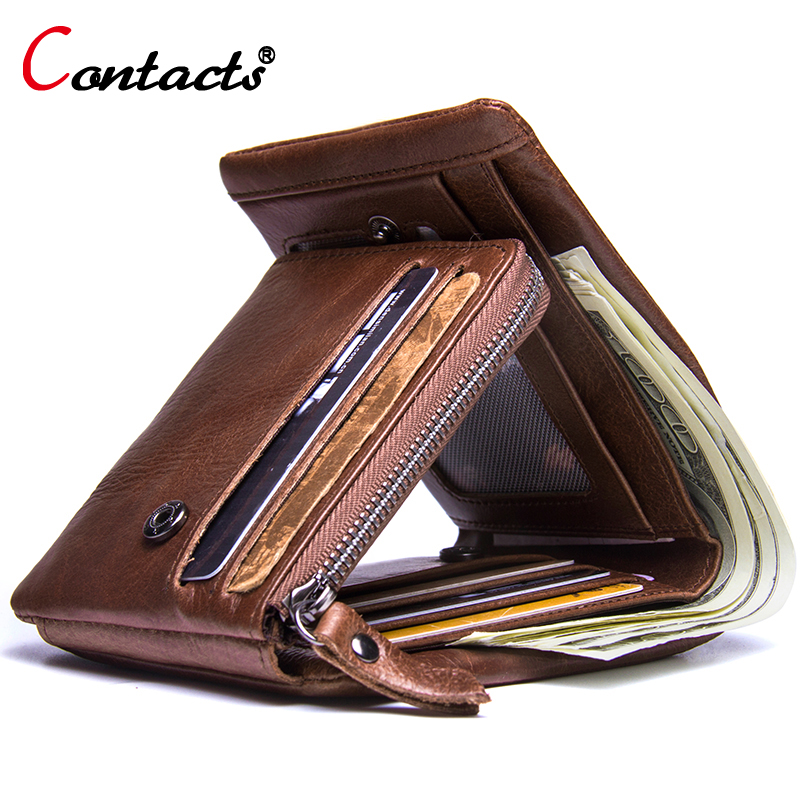 Contact's Brand Genuine Leather Men Wallets Male Coin Purse Men Clutch Bags Walet Credit Card Holder Wallet Small Money Bag New new 2018 genuine leather men wallets short coin purse small vintage wallet brand card holder pocket purse man money bag
