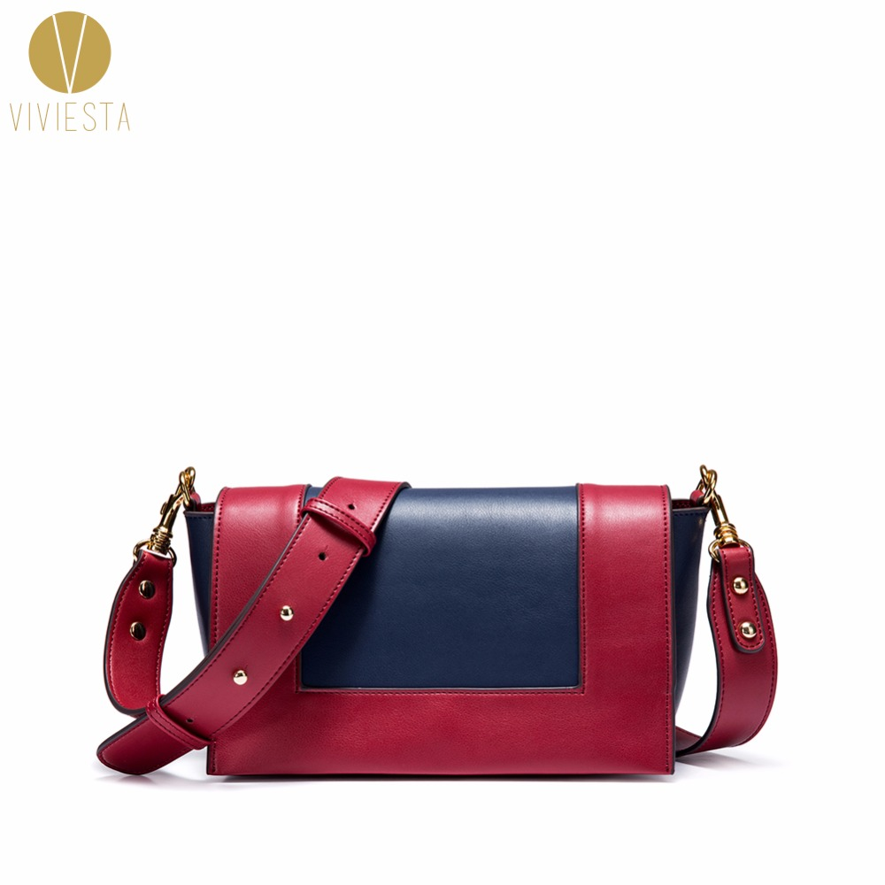 GENUINE LEATHER COLOR BLOCK FLAP BAG - Women's 2018 Winter Trend Fashion Stylish Smooth Skin 2-Way Crossbody Shoulder Handbag недорго, оригинальная цена