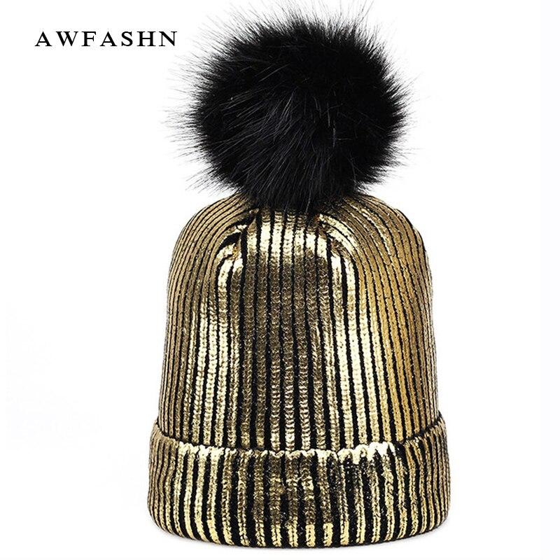 Winter fashion women's hat Winter Ins Gold Silver Purple Metallic Women Girls Acrylic Knitted Skullies Beanies Pom pom Hats