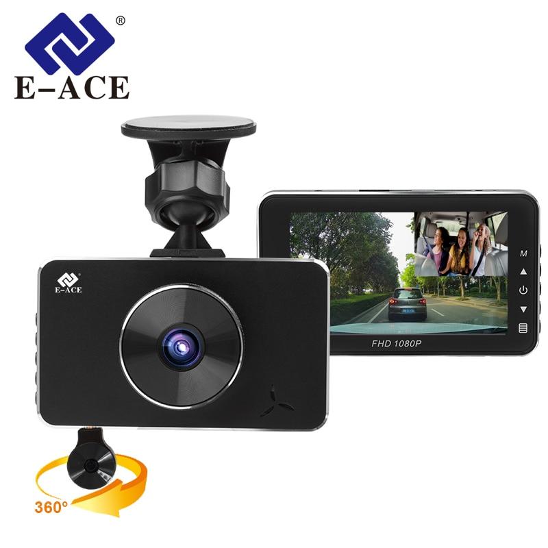 E ACE 2018 New Mini Car Camara Novatek 96658 Full HD 1080P Car Dvrs With Two Camaras 360 Degree Video Recorder Night Vision