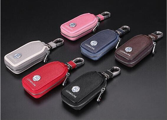 2018 New Grey Brown Car Key Cover Frost Leather Auto Key Ring For