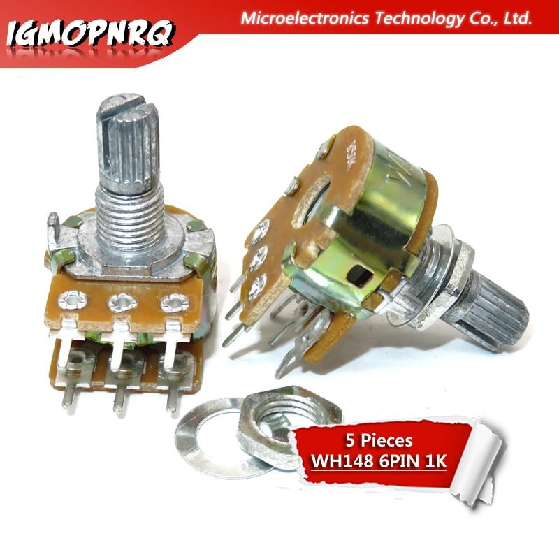 5PCS B10K Dual Stereo 6Pin Potentiometer Pots with Shaft 15mm