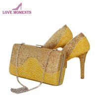 2018 Gorgeous High Heels Gold Rhinestone with Yellow Pearl Wedding Bridal Dress Shoes with Matching Bag Party Pumps with Clutch