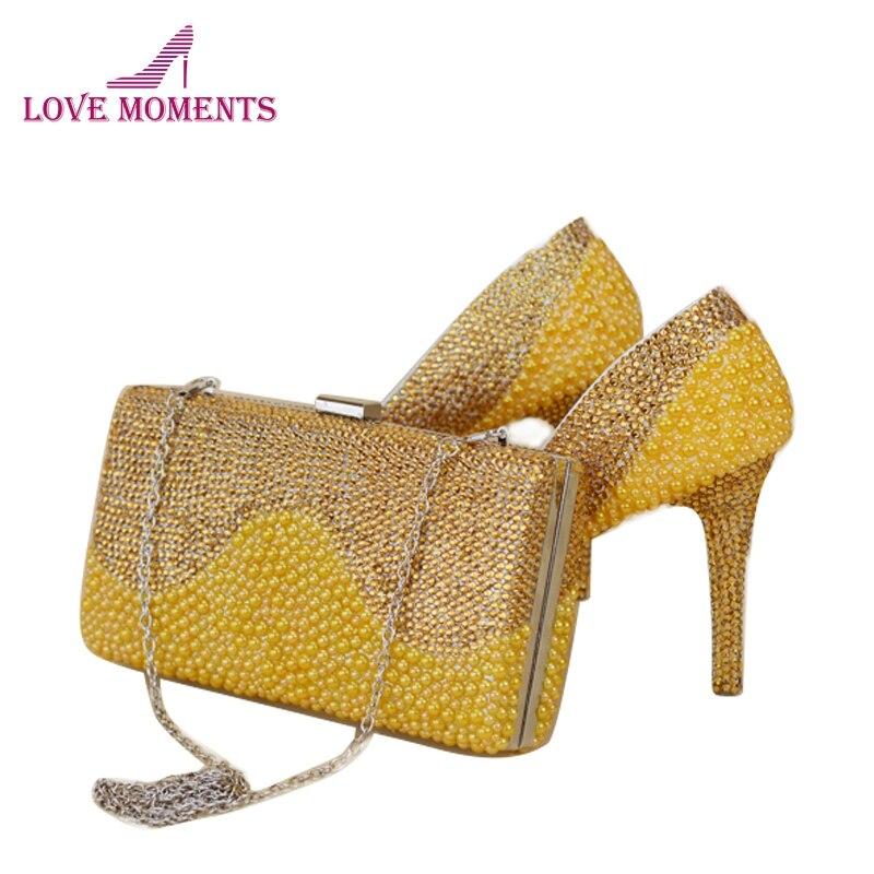Bolso Del Altos Rhinestone Gorgeous Bag Embrague Oro 14cm Zapatos Perla Gold 11cm Bag 2018 With gold Partido Boda Juego Amarillo Vestido Tacones Nupcial Bombas Con A 8cm IxtOEqwdw