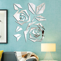 Flower Decals 3D Decorative Mirror Wall Sticker Living Room Bedroom Wall Decor Door Tile Refrigerator Sticker Room Decoration