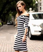 New Fashion Nice Women Spring Summer Dress Sexy Of The Shoulder Knee Length Strapless Striped Half Sleeve Pencil Dress A512