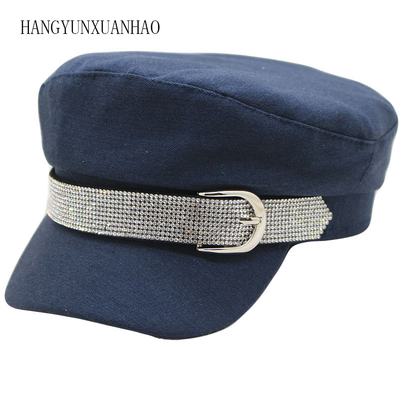 Fashion Diamond Military Hat Autumn Cotton Sailor Hat for Women Men Flat Top Female Crystal Travel Cadet Hat Captain Cap in Men 39 s Berets from Apparel Accessories