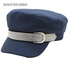 Fashion Diamond Military Hat Autumn Cotton Sailor Hat for Women Men Flat Top Female Crystal Travel Cadet Hat Captain Cap fashion alloy buttons embellished military hat for men