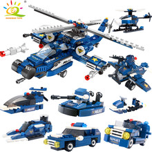 HUIQIBAO Toys 515PCS 8in1 City Police Helicopter Building Blocks For Children Legoingly Swat Figures Boat Truck Vehicles Bricks(China)