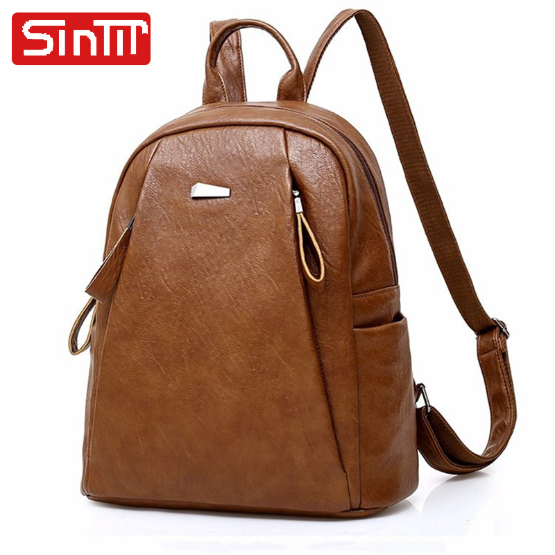 SINTIR High Quality PU Leather Fashion Women Backpack Big Travel Shoulder Bag Casual School Bags For Teenager Girls Bags Mochila