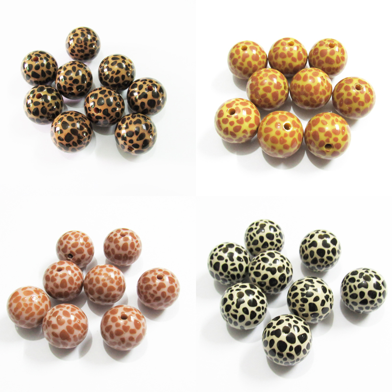 Newest!  Wholesale 20mm 100pcs/bag  Acrylic Bright Leopard Print/Plated Clear UV  Beads For Chunky Kids Necklace