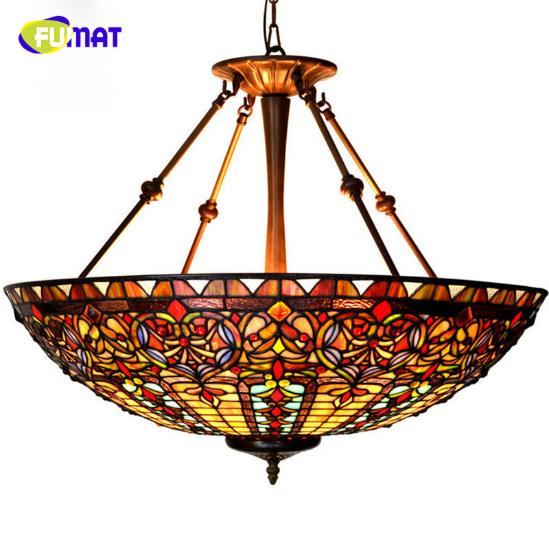 27in European Style Baroque Restaurant Tiffany Country Light Classic Stained Glass Pendant Lamp Hotel Project Light Living Room tiffany baroque retro stained glass pendant light restaurant bedroom living room corridor porch lamp