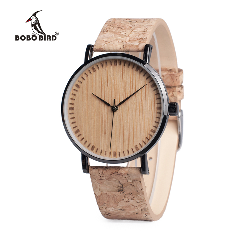 BOBO BIRD WE18 Luxury Quartz Watches Top Brand Designer Watches With Wood Watch Face and Cork Leather Straps in Gift Box OEM bobo bird o01 o02men s quartz watch top luxury brand bamboo wood dress wristwatch with classic folding clasp in wood gift box