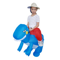Halloween Children Small Blue Dinosaur Inflatable Clothing Kid Show Performance Party Costumes Christmas Cosplay Cartoon Clothes