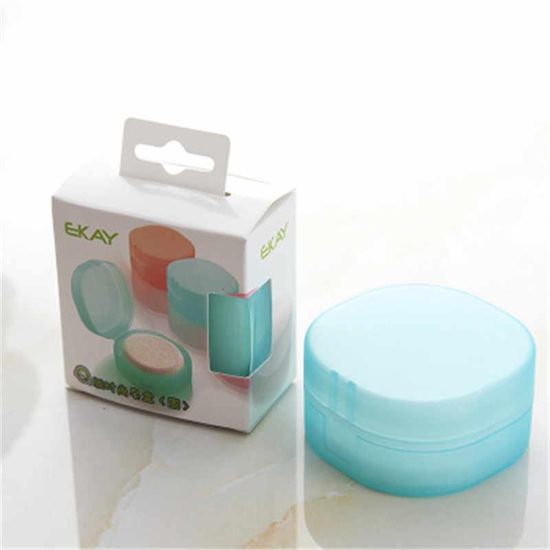 Round Transparent Plastic Soap Box Sponge Soap Holder Home Bathroom Accessories Set Soap Edition Fashion Soap Box