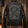 men genuine Men Retro Vintage Leather Biker Jacket Embroidery Skull Pattern Black Slim Fit Men Winter Motorcycle Coat