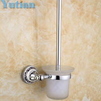 Free Shipping Toilet Brush Holder Ceramic Solid Brass Construction Base Bathroom Accessories YT 11812