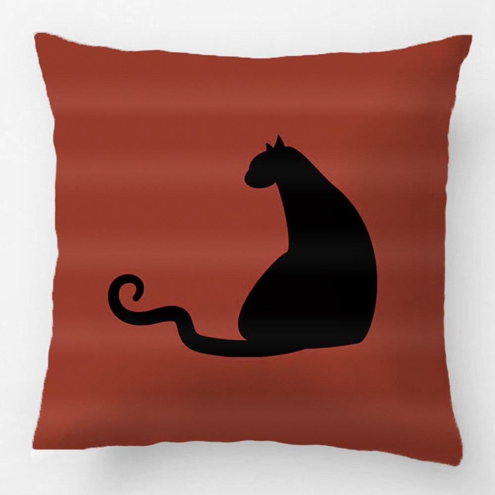 ツ Sentado Gato Negro Perfil Throw Pillow Case Cojin Decorativo