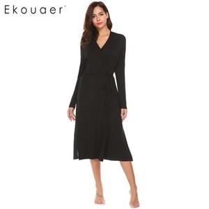 Image 2 - Ekouaer женский халат с длинным рукавом Однотонная задняя двухслойная Пижама банный халат с поясом до середины икры шаль воротник вечернее платье