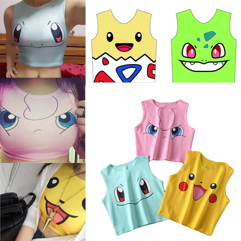 2019 Harajuku Sexy Girls Cosplay Costume Pokemon Pikachu Crop Tops Shirt Print Tank Tops Sleeveless Tee Vest Anime Costume