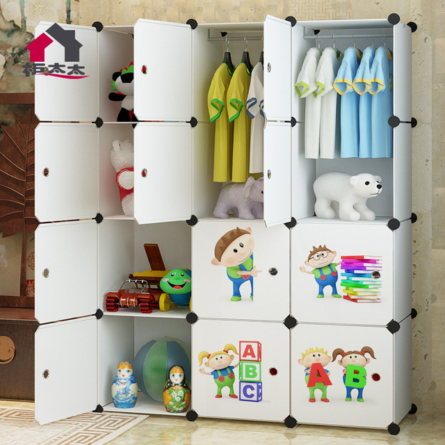 Mrs. Cabinet Assembly Simple Wardrobe Closet Plastic Childrenu0027s Cartoon Baby  Clothes Holding Cabinet