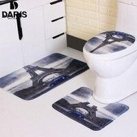 Eiffel Tower And Blue Car Bath Mat 3pcs Fashion Shaggy Microfiber Memory Foam Bathroom Mat Set