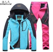 DIRENJIE Winter Outdoor hiking jacket suits waterproof women camping fishing Keep warm Fleece jacket + Soft shell Pants suits недорого