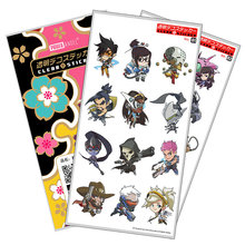PowerAngel Plastic Stickers Hot Game OW JUNKRUT SOLDIER 76 LUCIO MERCY For Phone Laptop Book Art Sticker