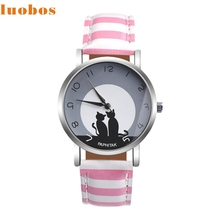 LUOBOS Fashion Womens Cute Cat Faux Leather Analog Quartz Lady cat pattern Watch gift drop ship June21 P30