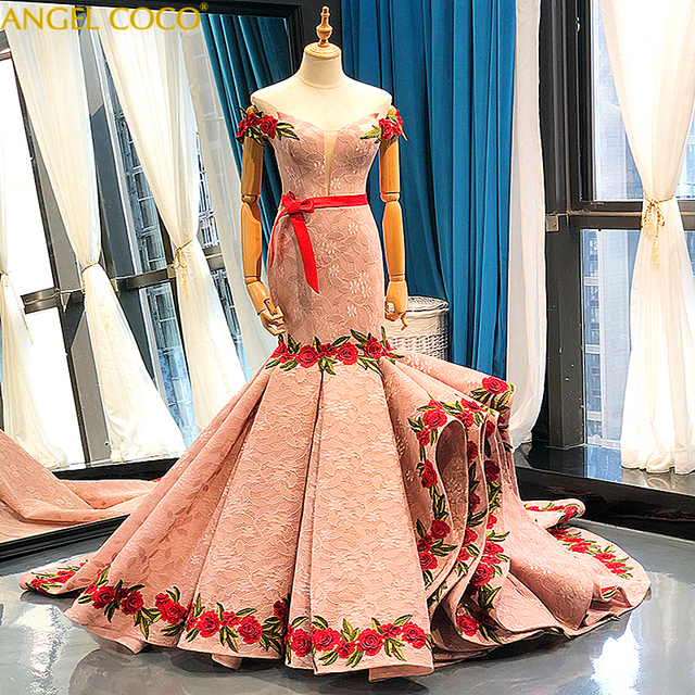 Luxury Evening Dresses 2019 Mermaid Strapless Pearls Lace Embroidery Gray Pink Women Formal Party Gown Prom Dress Robe De Soiree