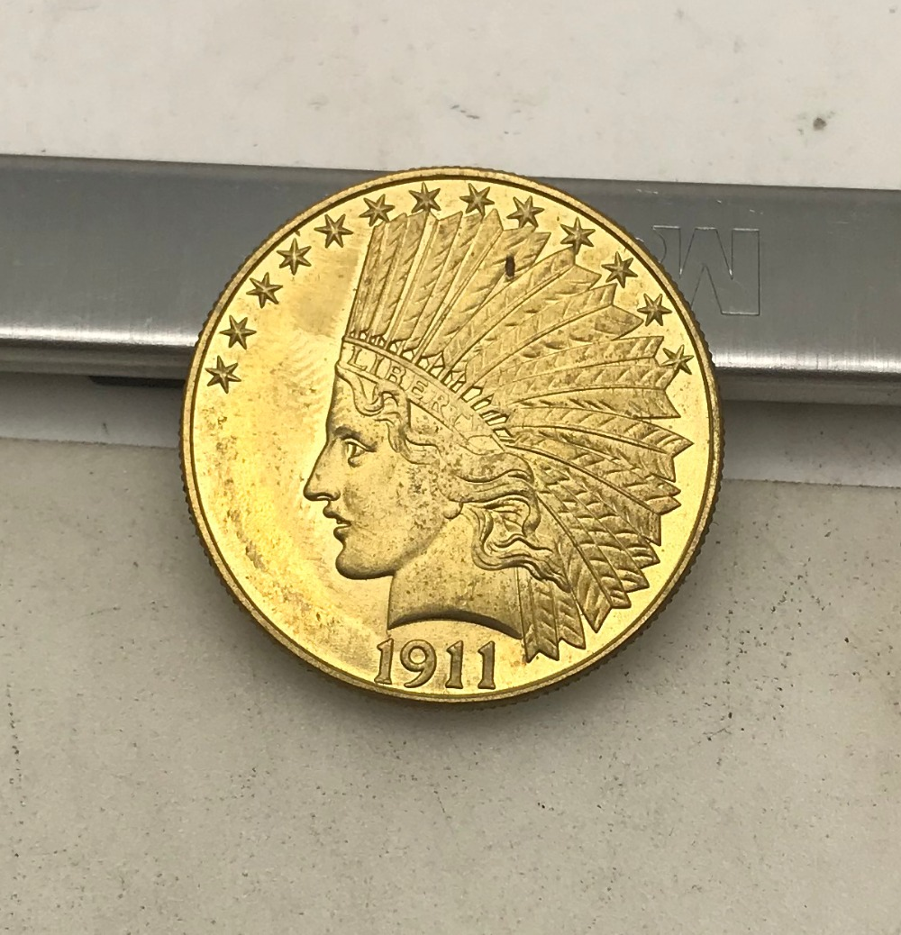 United States Of America 1911 Ten 10 Dollars Indian Head Eagle with motto In God We Trust Gold Coin Brass Metal Copy Coins