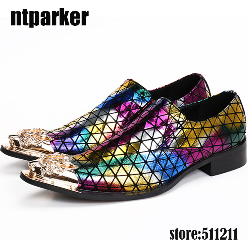 ntparker 2018 New Fashion golden steel pointy toe dress shoes men mixed colors oxford shoes for men genuine leather prom shoes цена и фото