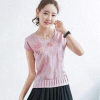 Blusas Mujer De Moda 2017 Embroidery Blouse Short Sleeve Shirt Women Blouses Camisa Feminina Plus Size