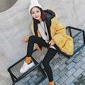 Inverno de algodão acolchoado para baixo espessamento das mulheres na longa seção de estudantes deixar dois Han solto casaco com capuz feminino casaco amarelo