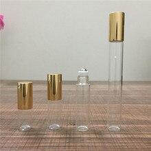 2ml 3ml 5ml 10ml cam silindir şişe uçucu yağlar doldurulabilir parfüm şişesi Deodorant ile altın kapak