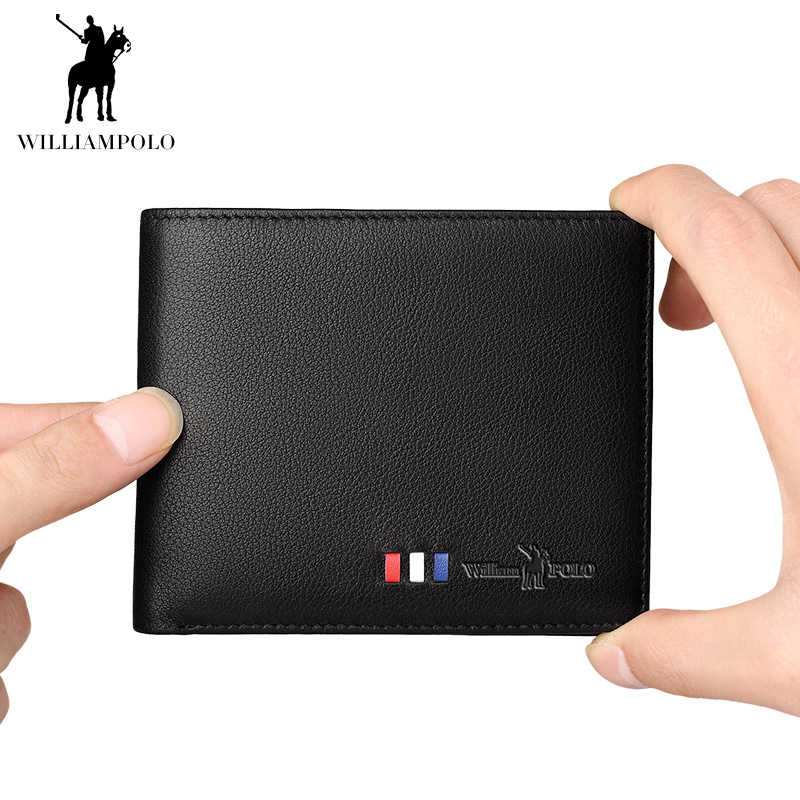WILLIAMPOLO Men Wallet Genuine Leather Slim Thin Small Casual Men's Purse Fashion Standard Wallet Luxury Brand Wallet for Men