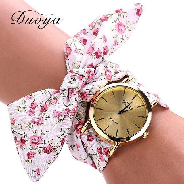Duoya Famous Brand Watch Women Gold Fashion Casual Fabric Flower Bracelet Watch Women Dress Female Girl Quartz Wristwatch xr871