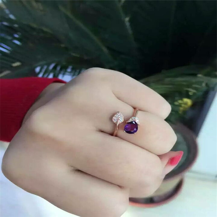 Wholesale 925 Sterling Silver Crystal Natural Amethyst Ring Contracted To The Stylish Elegance Birthday Gift To Women