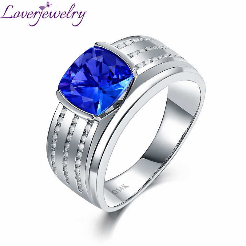 Romantic Real 14K White Gold Natural Tanzanite Mens Ring Charming 0.32ct Diamond Wedding ...