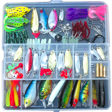 цены Multi Fishing Lure Mixed Colors Metal Spoon Bait Soft Lure Kit Wobbler Frog Fishing Tackle Pesca Iscas Artificias Bait Kit
