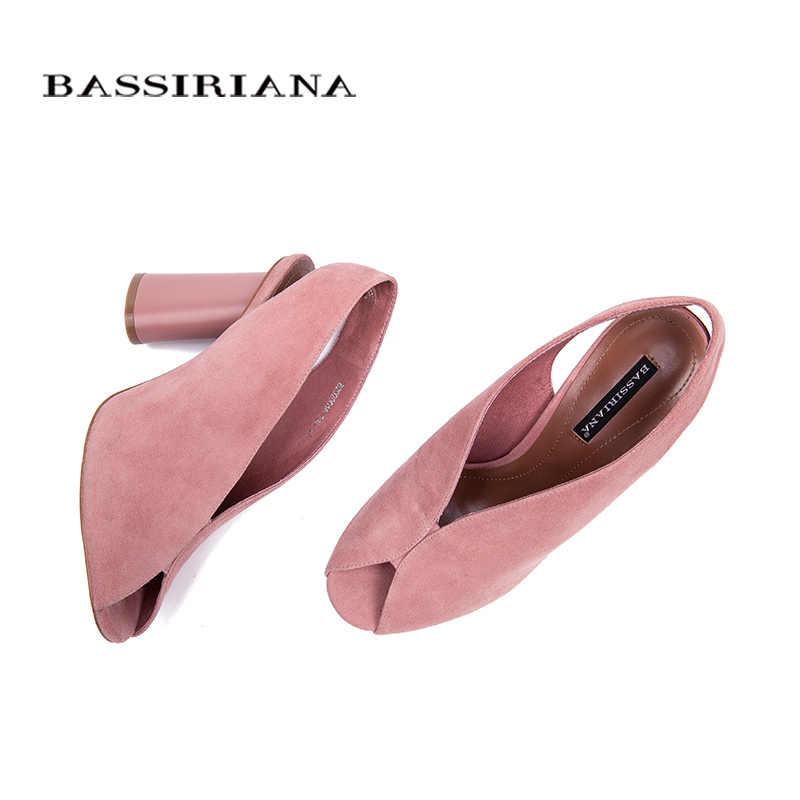 BASSIRIANA 2018 zapatos de tacón alto de gamuza genuina de mujer vestido de oficina sandalias de gladiador de mujer slip-on verano Rosa negro tamaño 35-40