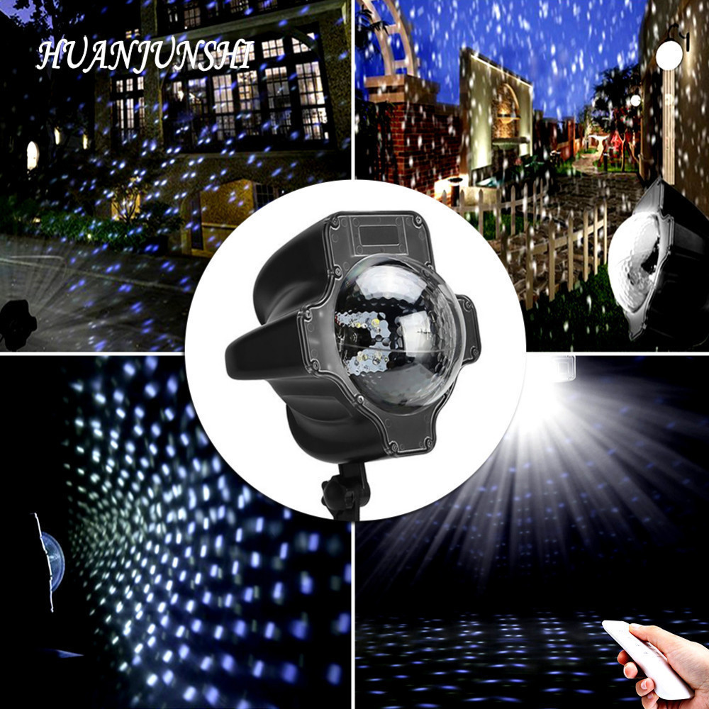 Newest Waterproof LED Laser Lamp Snowflake Spotlight 6W Rotatable Remote Control Projector Light for Outdoor Garden Christmas
